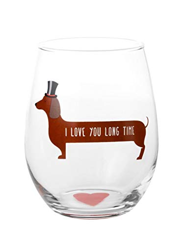 Drinking Divas 'I Love You Long Time' Dog Wine Glass - Mothers Day & Graduation Weiner Dog Gifts for Women | Funny Wine Glasses with Sayings | Stemless Drinking Design for Dachshund Lovers, Dog Moms