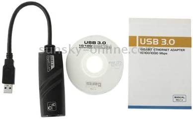 USB 3.0 10//100 // 1000Mbps Ethernet Adapter for Laptops Black Durable Plug and Play