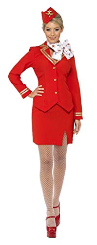 Ladies Red & Gold Flight Attendant Air Hostess Cabin Crew Trolley Dolly Uniform Airways Career Hen Night Do Carnival Fancy Dress Costume Outfit UK 8-22 (UK 20-22)