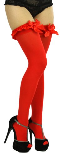 Lace Satin Bow Top - ToBeInStyle Women's Thigh High W/Ruffle Trim Top & Bow - One Size - Red W/Red Satin Bow Detail