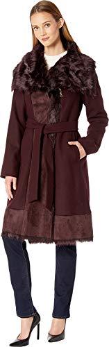 VINCE CAMUTO Women's Belted Mixed Media Wool Coat R1231 Merlot - Media Merlot