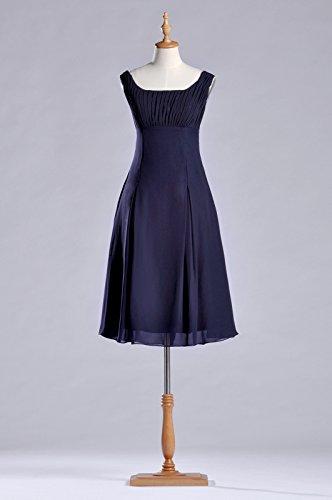 Navy Dress Special Brides of Knee Occasion Blue Pleated Formal the Mother Length Bridesmaid OfPdwxqzO