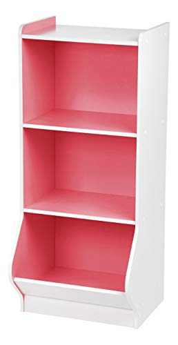 IRIS 3-Tier Storage Organizer Shelf with Footboard, White and Pink