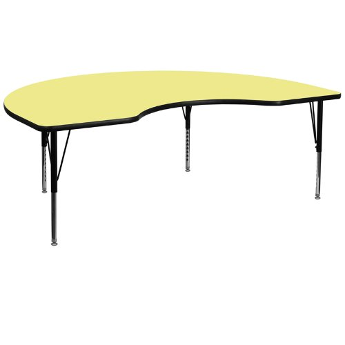 48''W x 72''L Kidney Shaped Activity Table with Yellow Thermal Fused Laminate Top and Height Adjustable Pre-School Legs (Childrens Kidney Shaped Activity Table)