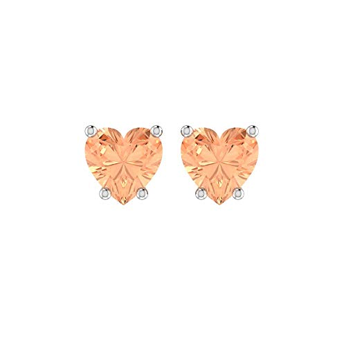 Solid Sterling Silver 5mm Heart Shaped 1.45 Carat Alexandrite Cubic Zirconia Stud Earrings, High Polished CZ Earrings with Push Backs