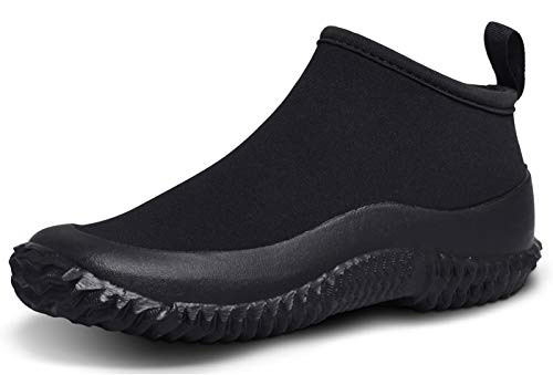 TENGTA Unisex Gardening Boots Womens Ankle Rain Boot Mens Car Wash Footwear Neoprene Shoes Black 9.5