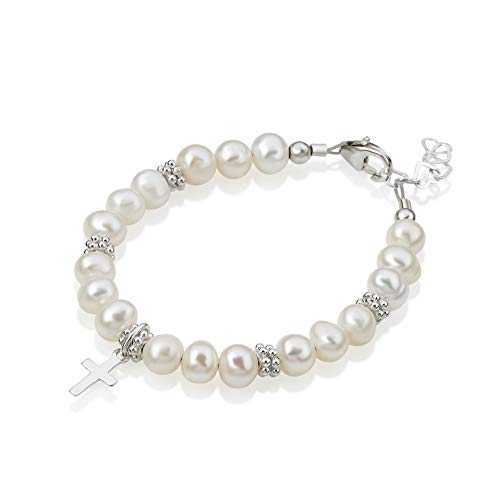 Christening White Cultured Fresh Water Pearls with Sterling Silver Cross Luxury Keepsake Unisex Baby Bracelet (BFWCD_S) ()