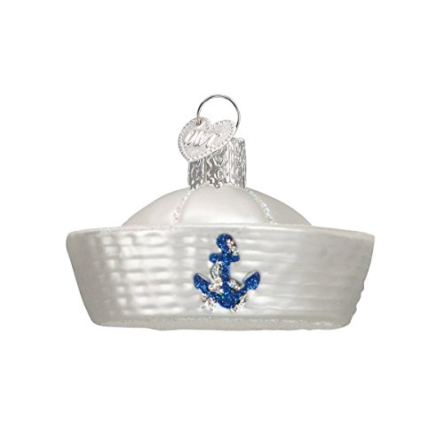 Old World Christmas Baby Shoe White Glass Owc Ornament: Old World Christmas Sailor Hat Glass Blown Ornament
