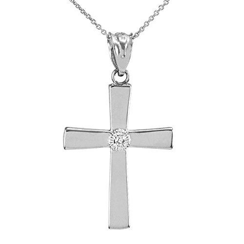 10k White Gold Solitaire Diamond Cross Pendant Necklace