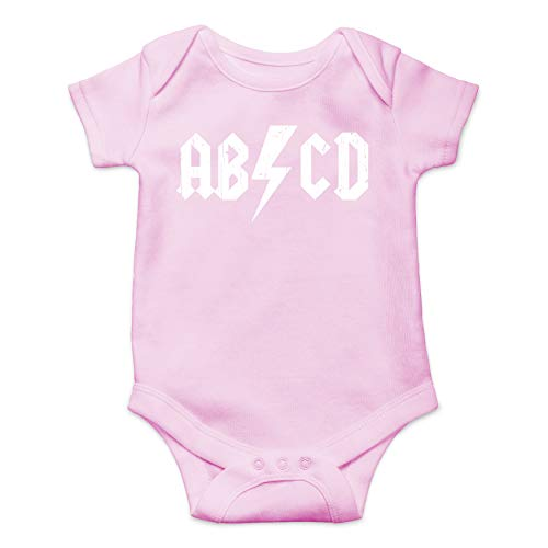- ABCD Alphabet Rock and Roll Cute Funny One Piece Future Rockstar Hilarious Baby Infant Romper (Pink, 6 Months)