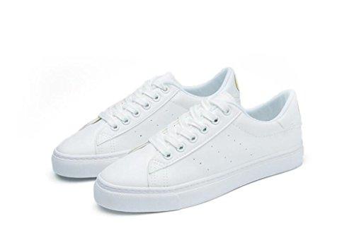 Zapatos Movimiento Verde Casual Abajo Alumnos PU Blanco NVXIE white Plano Día Compras Señora Sonriendo Escuela Zapatos Cómodo 8wg6SR5xq