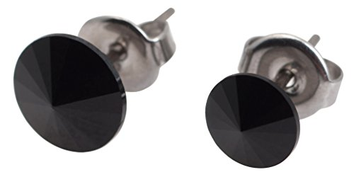 galaxyjewelry ONYX Black Titanium Post Earring Stud, No Allergic Reaction/8mm & 6mm