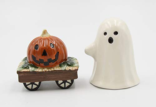 Fine Ceramic Cute Halloween Casper Costume with Pumpkin Wagon Salt & Pepper Shakers Set, 3-1/4