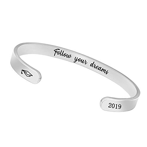 Graduation Gifts for Her Inspirational Bracelets Women Men Cuff Bangle Friendship Mantra Jewelry Come Gift Box (2019 Follow Your Dreams) (Best 30th Birthday Gift Ideas For Her)