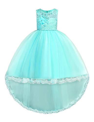 JOYMOM Party Wear Dresses for Girls,Formal Occasion Dress Kids Round Neck Sleeveless High Waist Noble Temperament Ball Gown Student Weekend Wear Turquoise Size(140) 7-8 Years