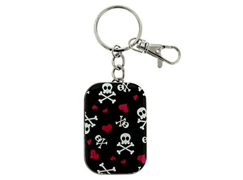 Hearts And Skulls Rectangle Container Tin Silver-tone Key Chain With Trigger Snap (Silver Tone Tin)