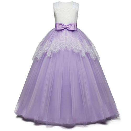 NNJXD Girls Flower Wedding Dresses Lace Princess Pageant Dress Prom Ball Gown Size(130) 02Purple 7-8 Years