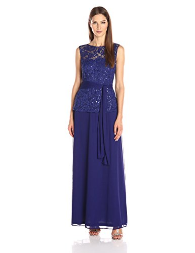 a4e1e5f6953 ONYX Nite Women s Long Lace and Mesh Gown with Tie Waist