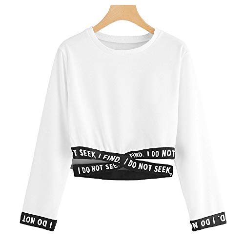 Donna corto Mambain Lettera Da Felpe stampa xh18 Bianco Stile Girocollo moda UtCqaOAw