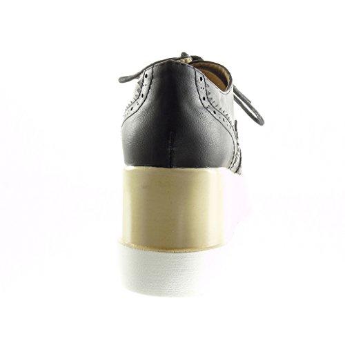 Angkorly - Scarpe da Moda Scarpe brogue zeppe donna perforato Tacco zeppa piattaforma 7 CM - Nero