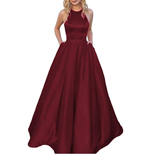 Dress Halter Pocket - Tsbridal Women's Halter Lace Up Bridesmaid Dresses Long Formal Gown with Pockets Wedding Party Dress Burgundy US 22W