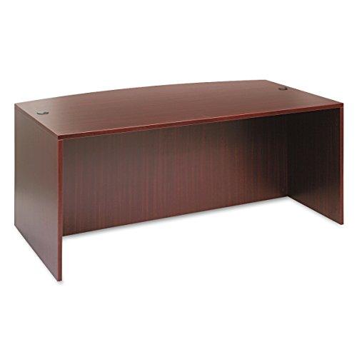 Alera ALEVA227236MY Valencia Bow Front Desk Shell, 71w x 35 1/2d to 41 3/8d x 29 5/8h, Mahogany - Executive Bow Top
