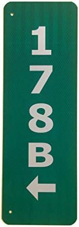 カスタム反射グリーン911アドレスアルミサインと矢印の両側