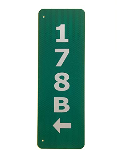- Custom Reflective Green 911 Address Aluminum Sign with Arrow on Both Sides