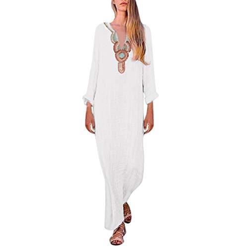 ♛TIANMI Dress for Women,Summer Casual Printed Sleeveless V-Neck Maxi Dress Hem Baggy Kaftan Long Dress ()