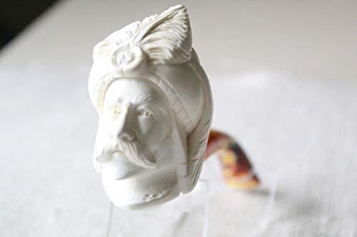 White Turkish Meerschaum Smoking Pipe Handcrafted, Unique Design by Handmade Studio ()