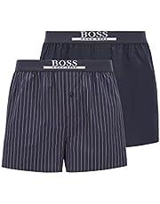 BOSS Herr 2P boxershorts EW tvåpack pyjamas shorts i bomull med logotypbokstäver på linningen