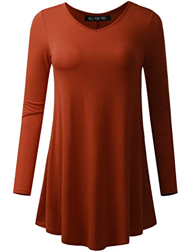 All for You Women's Long Sleeve V-Neck Flare Hem Tunic Rust XX-Large
