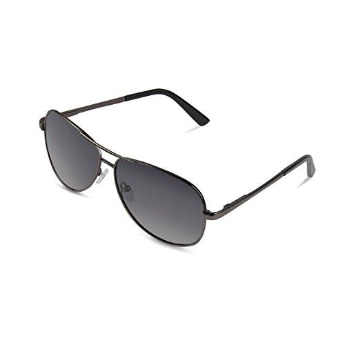 PoosDenton Mens Sunglasses Fashion Polarized UV Protection Black Metal Frames Travel Sun Glasses