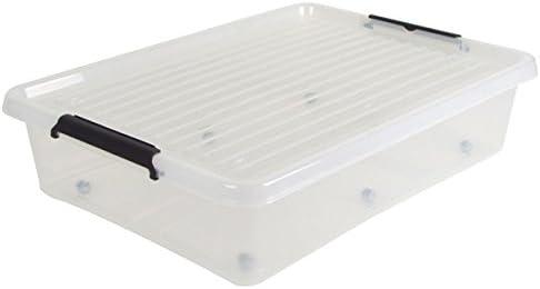 Bajocama con One ruedas caja caja caja de plástico Depósito cama caja: Amazon.es: Hogar