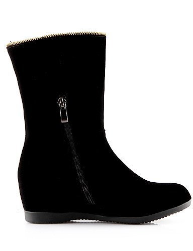 Uk6 Moda Casual Punta us6 Xzz Eu36 Black A Cn39 Vellón Botas De Zapatos Mujer Cuña Redonda Uk4 Cuñas Vestido Eu39 Black La Cn36 Tacón Negro us8 wOPHYqBxO