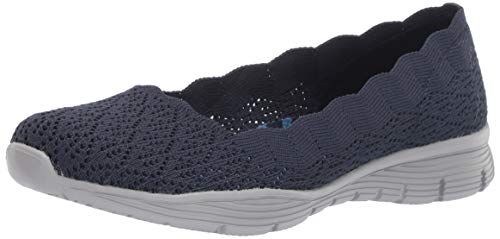 (Skechers Women's Seager-Infield-Scalloped Engineered Knit Skimmer Ballet Flat Navy 6 M US)