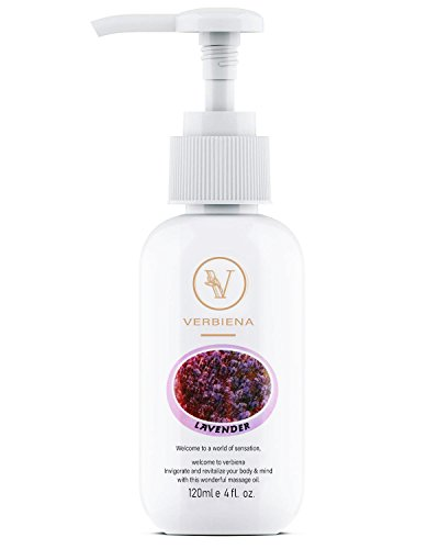 Verbiana Lavender Massage Oil - A Wonder Fusion of Pure Essential Oils, Plants Extracts and Virgin Coconut Oil – Ideal for Massage Therapy! Uplifting & Warm Scent Lavender