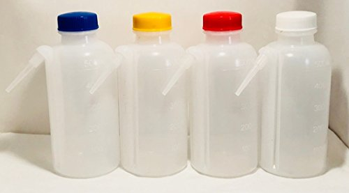 500 ml, 16 oz, Color-Coded Unitary Wash Bottle, LDPE, Screw Cap, Assorted Cap Colors ()