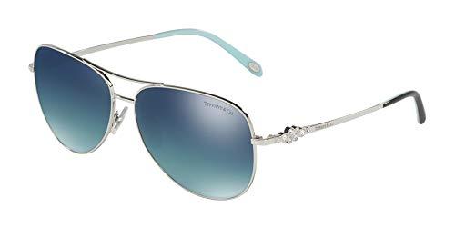 TIFFANY & CO. TF3052B - 60014Y Sunglasses SILVER w/ Light Blue Gradient / Mirrored Blue / Silver Polarized Lens 59mm