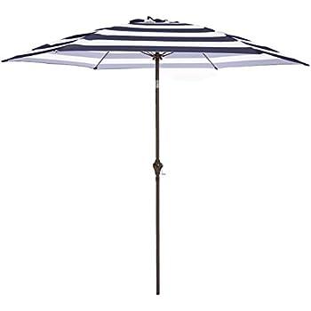 1bd2bfe4c AmazonBasics Outdoor Patio Umbrella, 9 Foot, Striped Dark Blue and White