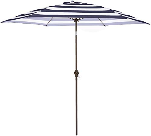 AmazonBasics Outdoor Patio Umbrella, 9 Foot, Striped Dark Blue and White (Patio Umbrella Striped Navy)