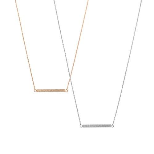 chelseachicNYC Handmade Brush Metal Geometric Sideway Bar Necklace