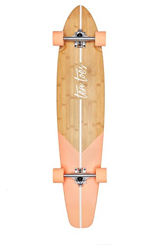 Best Review Of Ten Toes Board Emporium Zed Bamboo Longboard Skateboard Cruiser, 44, Salmon Fishtail