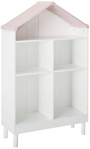 Major-Q White and Pink Finish Wooden Youth Kids Dollhouse Cottage Bookcase Bookshelf, Medium, - House Doll Bookshelf