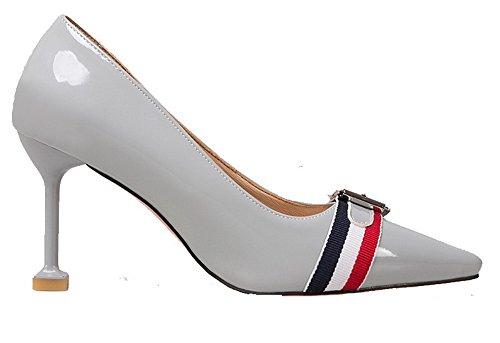 AllhqFashion Damen Lackleder Hoher Absatz Ziehen auf Spitz Zehe Pumps  Schuhe Grau ...