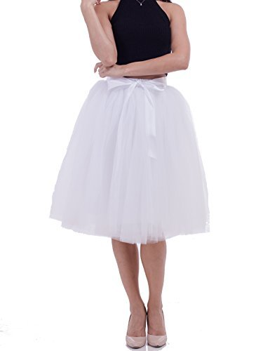 (Womens High Waist Princess A Line Midi/ Knee Length Tutu Tulle Skirt for Prom Party White  Free Size)