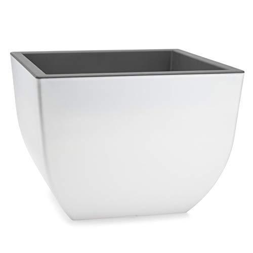 Form Plastic - Large Square Plastic Flower Pot - White & Gray ()