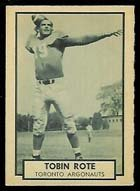 1962 Topps CFL (Football) Card# 143 Tobin Rote of the Toronto Argonauts ExMt Condition