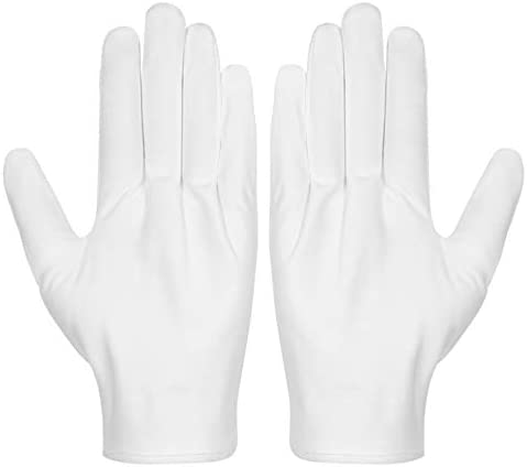 16 Pairs White Cotton Gloves 8.6 Large Size for Coin Jewelry Silver Inspection by Paxcoo