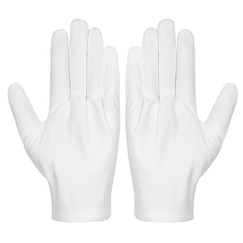 Cotton Gloves, Selizo 3 Pairs White Cotton Gloves Coin Gloves for Women Men Eczema Dry Hands Moisturizing Serving Archival Cleaning Jewelry Silver Inspection 3 Pair Cotton Gloves